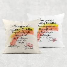 When You Are Missing Cuddles Hug Isolation Comfort Cushion Linen White Canvas