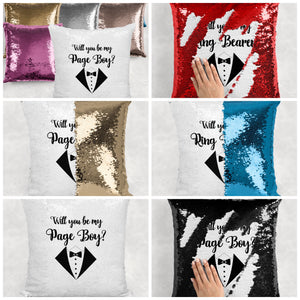 Will you be my Page Boy, Ring Bearer, Best Man Sequin Reveal Hidden Message Wedding Cushion -  - Molly Dolly Crafts