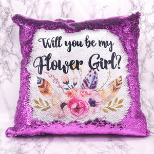 Will you be my Bridesmaid, Maid of Honour, Flower Girl Sequin Reveal Hidden Message Wedding Cushion -  - Molly Dolly Crafts