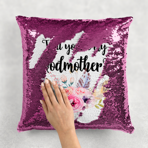 Will you be my Godmother Sequin Reveal Hidden Message New Baby Cushion -  - Molly Dolly Crafts