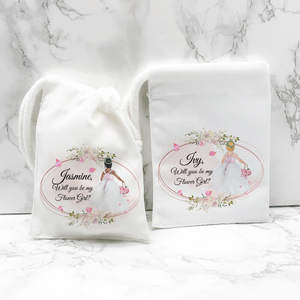 Will you be my Flower Girl, Bridesmaid, Maid of Honour Proposal Small Drawstring Bag