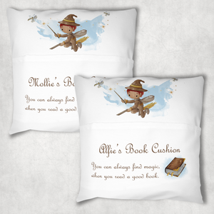 Wizard Magic Personalised Pocket Book Cushion Cover White Canvas