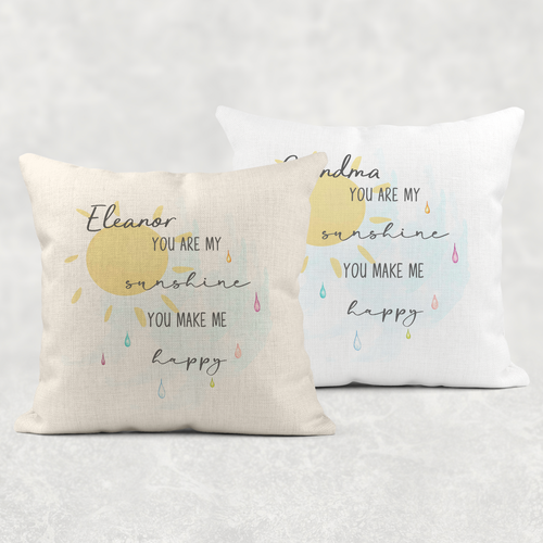 You Are My Sunshine Personalised Cushion Linen White Canvas
