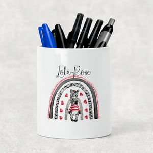 Zebra Rainbow Valentine's Day Pencil Caddy / Make Up Brush Holder