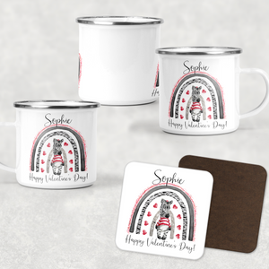 Zebra Rainbow Valentine's Day Camping Mug and Coaster Set
