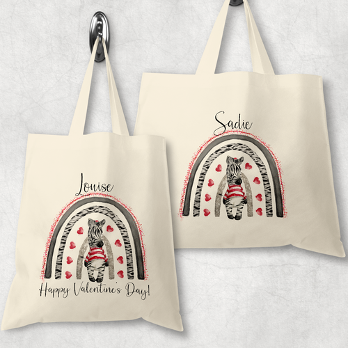Zebra Rainbow Valentine's DAy Personalised Tote Gift Bag