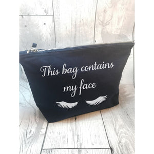 This Bag Contains My Face Make Up Navy Blue / Standard