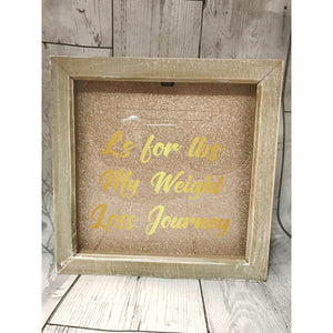 Weight Loss Money Box Frame Distressed Wood / Black Aid