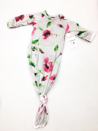 NB Blush Floral Baby Knot Gown