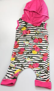 Neon Floral Hooded Rompers