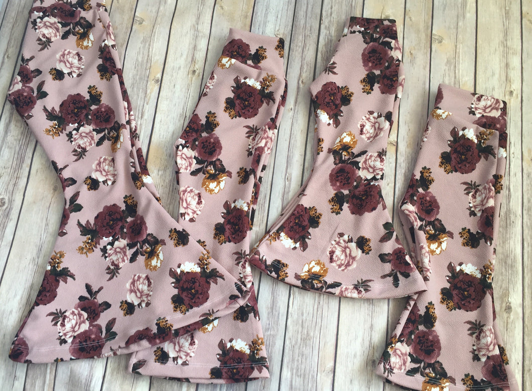 Mauve Floral Bell Bottoms (Pants Only)