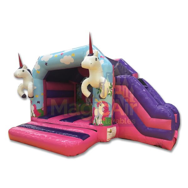 Unicorn Bouncy Castle with Side Slide