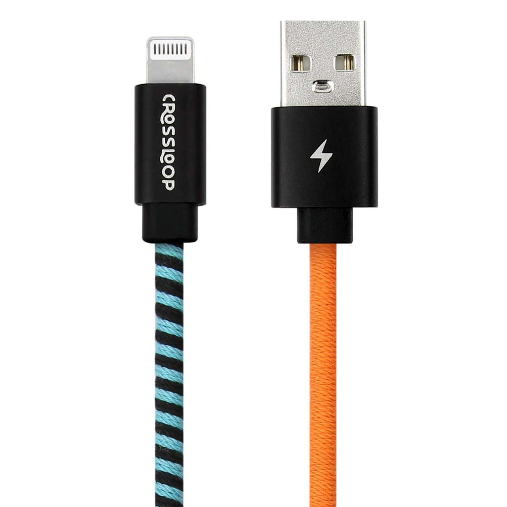 Crossloop Fast Charging Lightning Cable In Orange & Blue