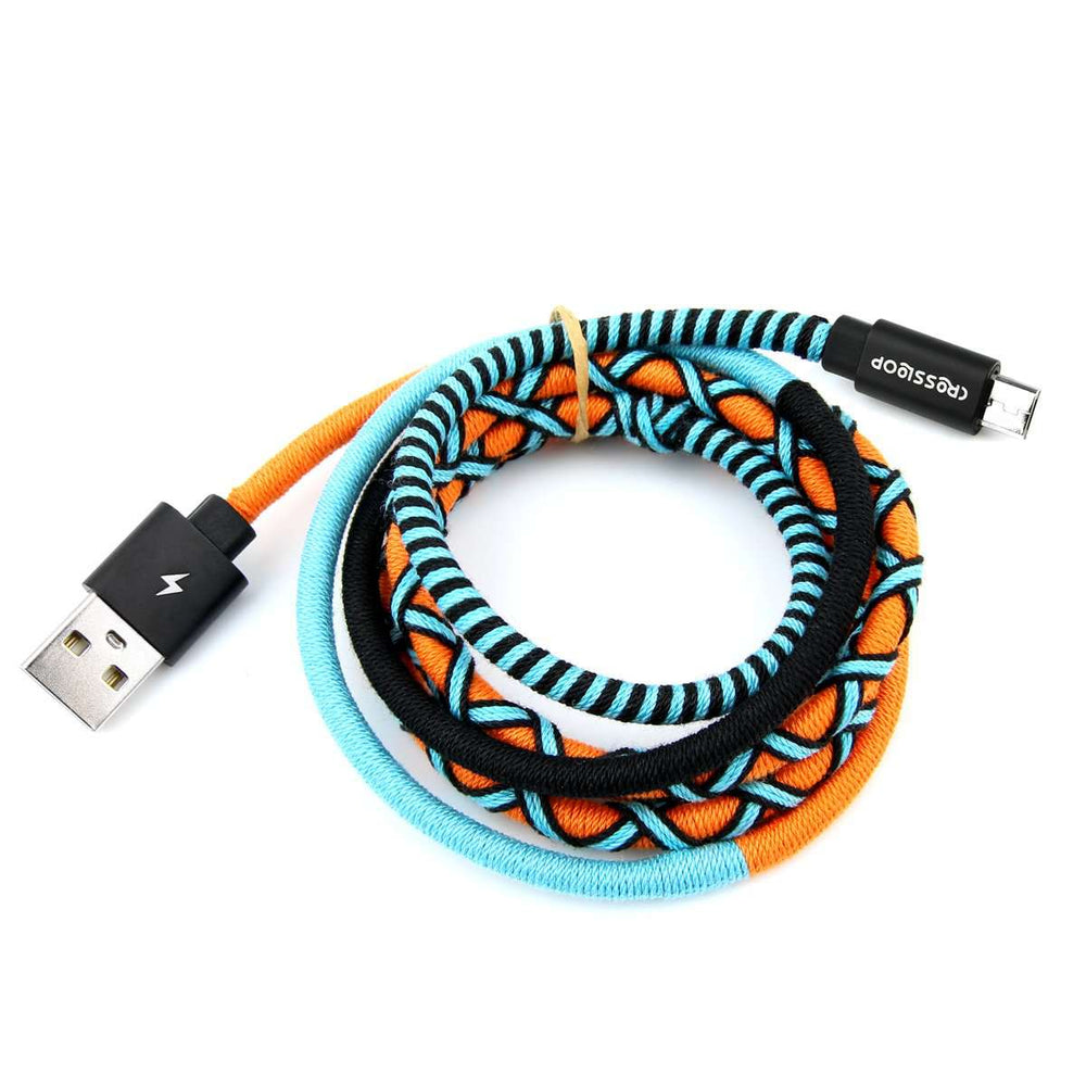 Crossloop Fast Charging Micro USB Extra Strong Unbreakable Braided Designer Charging Cable 1 Meter for Android Smartphone (Orange & Blue)