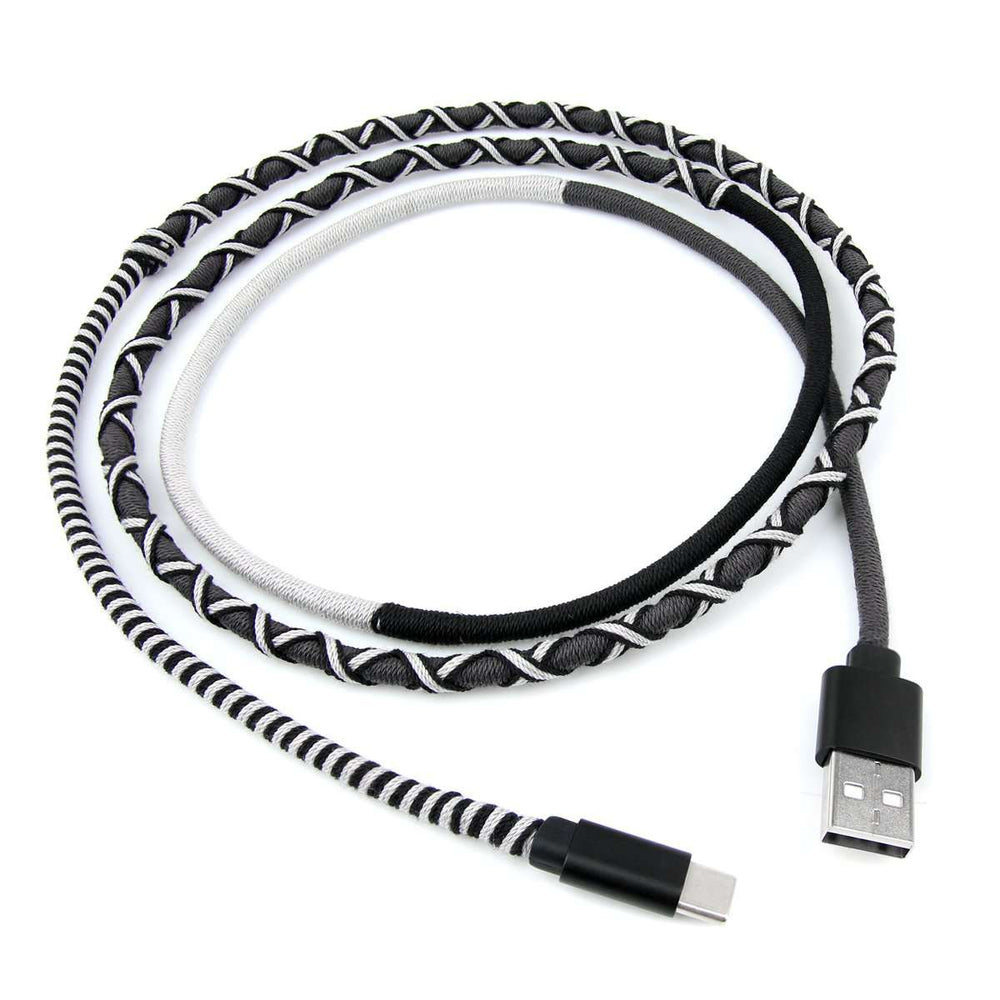 Crossloop Fast Charging Type C Extra Strong Unbreakable Braided Designer Charging Cable (Black & Grey) 1 Meter for Android Smartphone