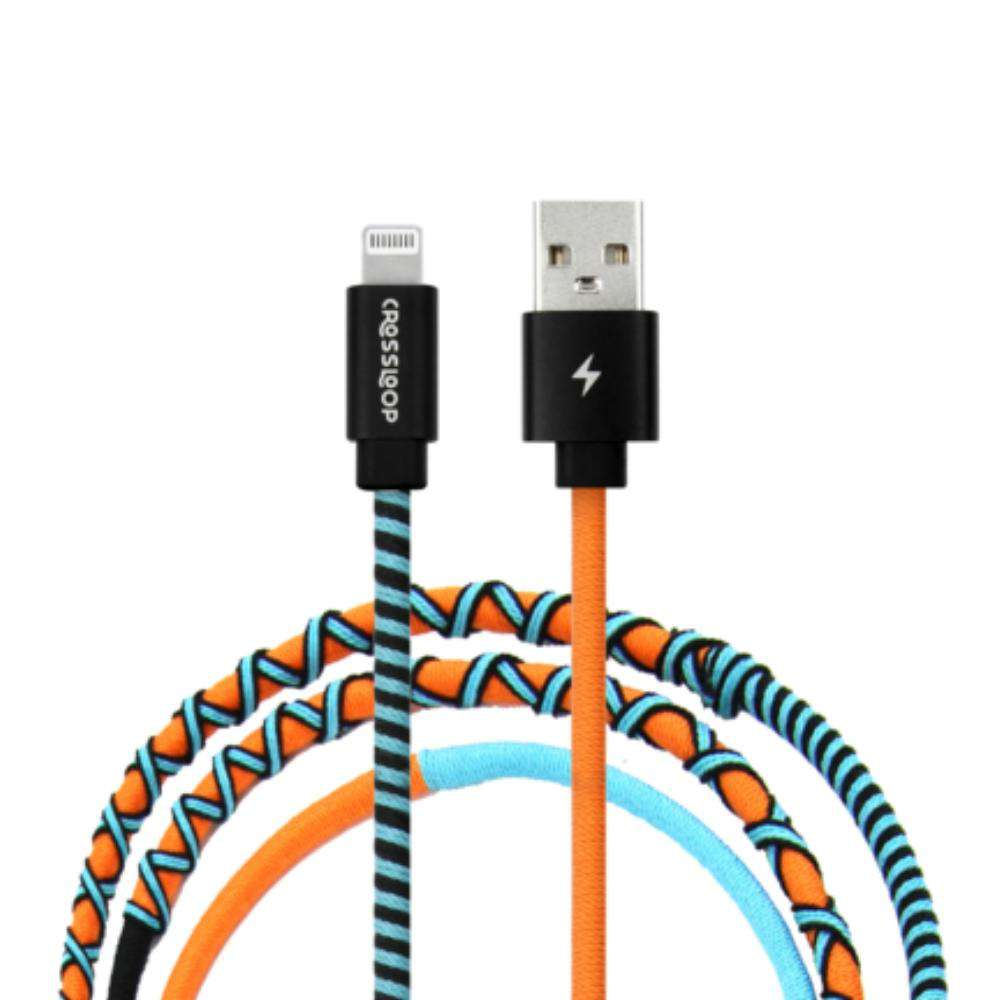 Crossloop Fast Charging Lightning Cable Extra Strong Unbreakable Braided Designer Charging Cable 1 Meter for I-Phone (Orange & Blue)