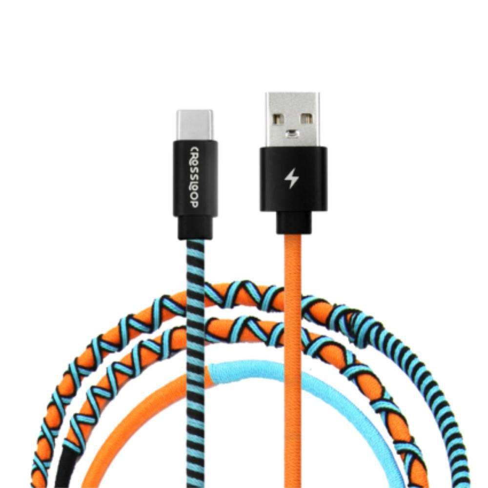 Crossloop Fast Charging Type C Extra Strong Unbreakable Braided Designer Charging Cable 1 Meter for Android Smartphone (Orange & Blue)