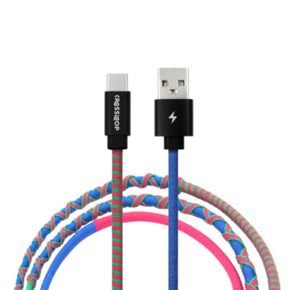 Crossloop Fast Charging Type C Cable In Blue & Pink