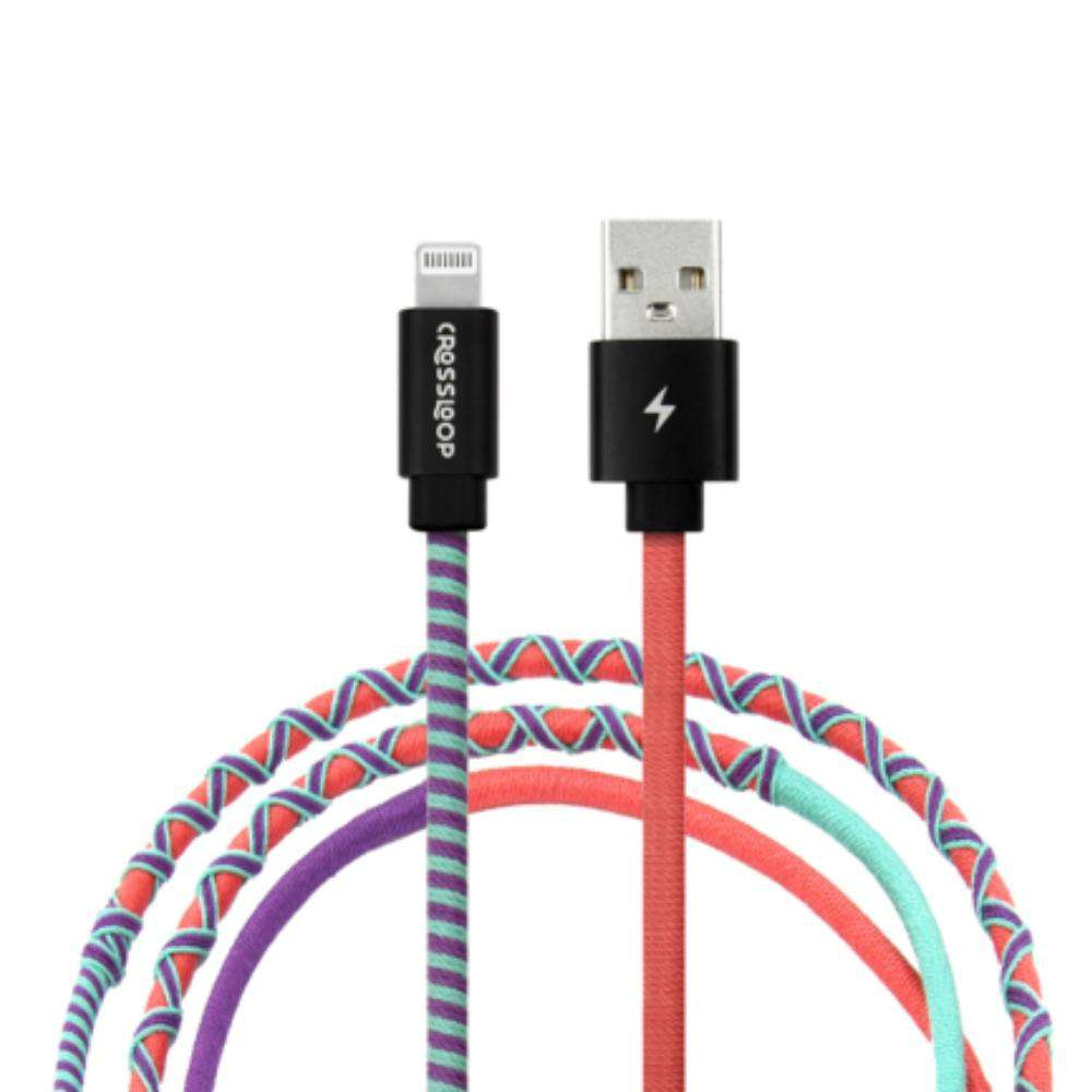 Crossloop Fast Charging Lightning Cable Extra Strong Unbreakable Braided Designer Charging Cable 1 Meter For iPhone (Apple Candy Red Purple)