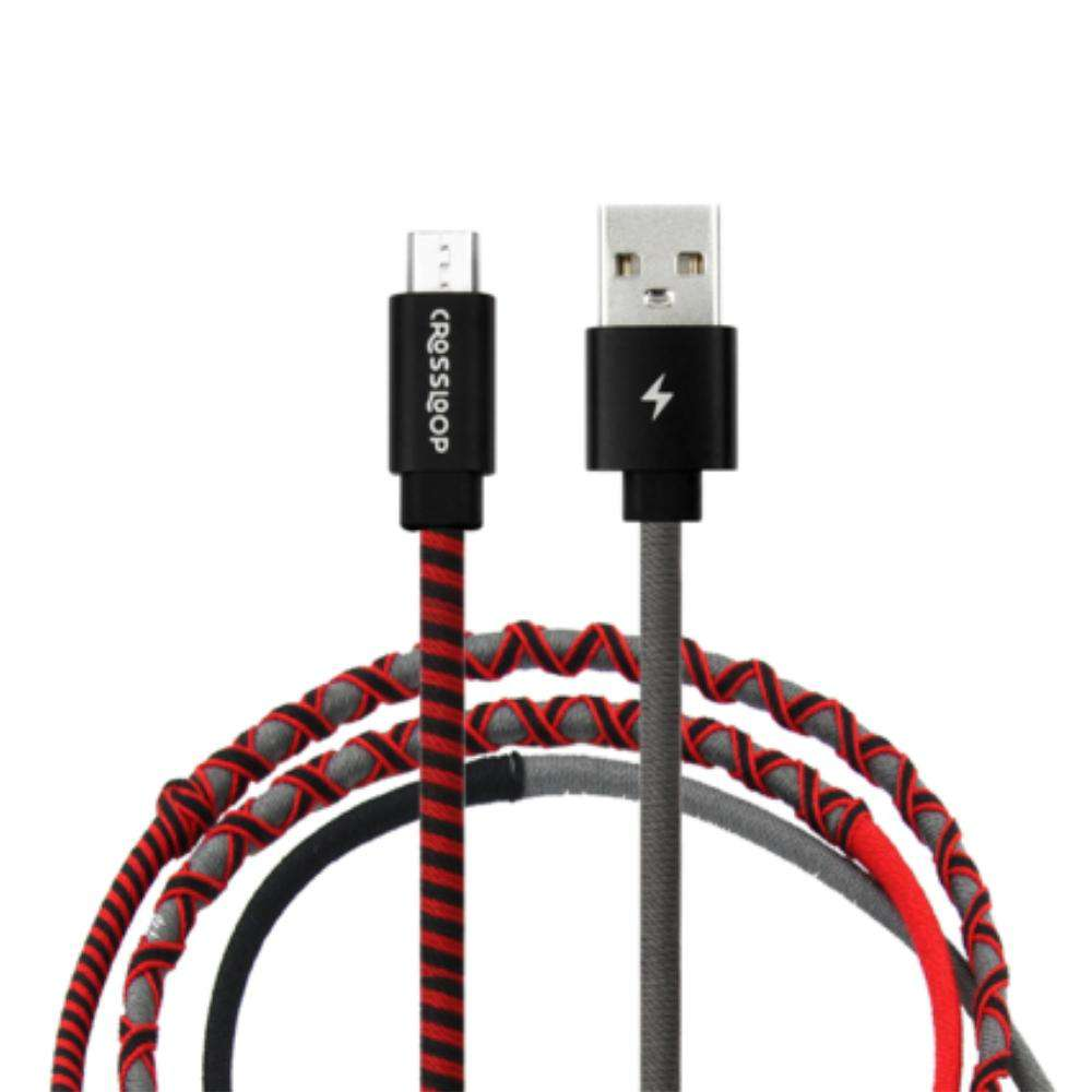 Crossloop Fast Charging Micro USB Extra Strong Unbreakable Braided Designer Charging Cable 1 Meter for Android Smartphone (Red, Black & Grey)