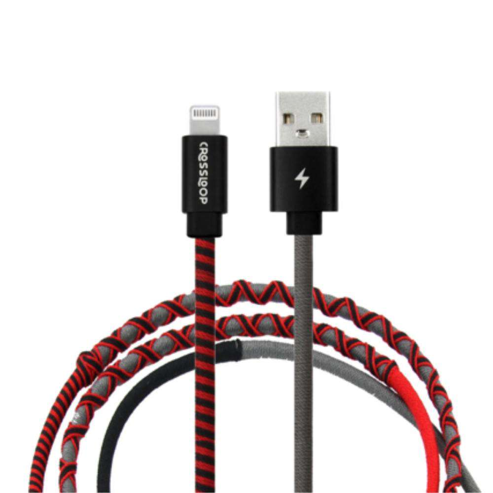 Crossloop Fast Charging Lightning Cable Extra Strong Unbreakable Braided Designer Charging Cable 1 Meter for I-Phone (Red, Black & Grey) For iPhone