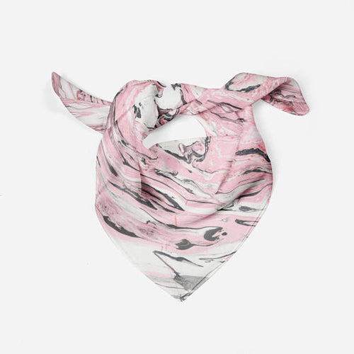 Marble Pink Silk Scarf For Kids Bandana Scarf - THANKSNET