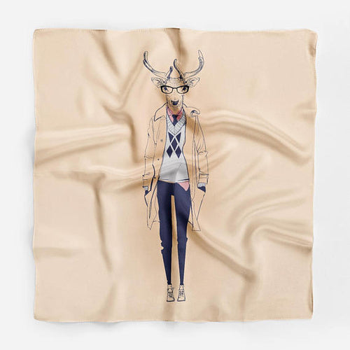 Deer Hipster Silk Scarf Animal Bandana Scarf Silk - THANKSNET