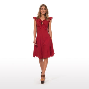 Red elegant summer dress with epaulettes in pure - THANKSNET