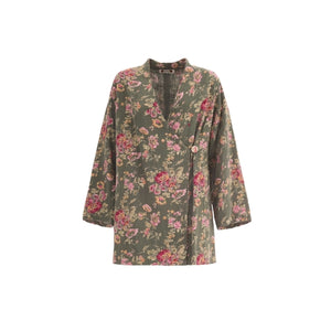 Summer LadyTop light jacket in pure cotton with floral - THANKSNET