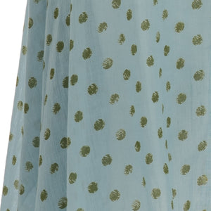 Long dress with green pois print on light blue - THANKSNET