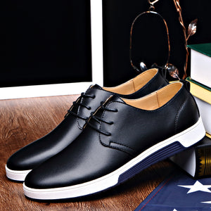 Casual Leather Fashion Trendy Black Blue Brown Flat Shoes - THANKSNET