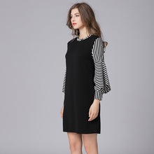 Striped Patchwork Tunic Short Dress - THANKSNET