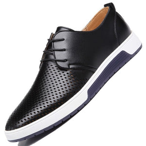 Summer Casual Mens Flats Luxury Genuine Leather Breathing Holes Shoes - THANKSNET