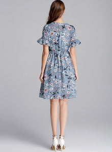 Blue Chiffon Print Tunic Elastic Waist Short Dress - THANKSNET