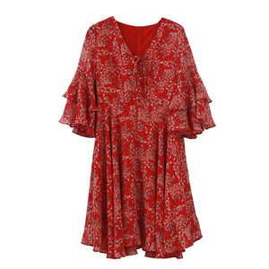 Red Chiffon Print Tunics Draped Dress - THANKSNET
