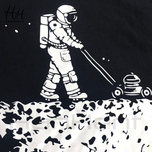 HanHent Develop The Moon T-shirts Men's Creative Design Summer Tee shirts Casual Streetwear Cotton Tops Funny T shirts Men Black