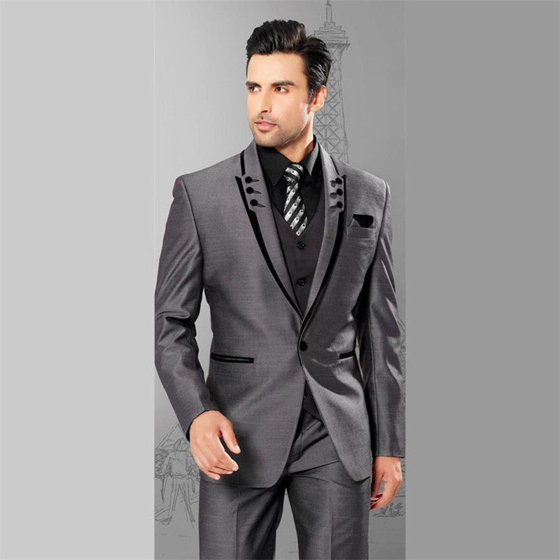 LN077 Men Suits Slim Fit Peaked Lapel Tuxedos Grey Wedding Suits With Black Lapel For Men Groomsmen Suits One Button 3 Piece