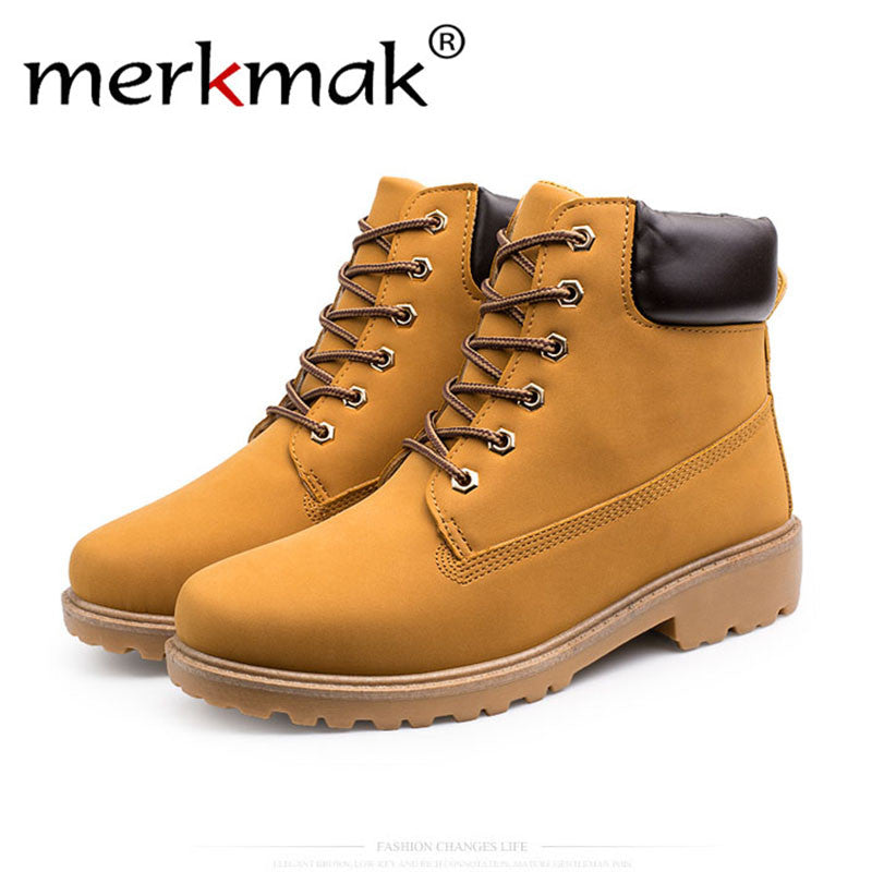 Merkmak 2017 Men Shoes Classic High Top British Style PU Leather Autumn