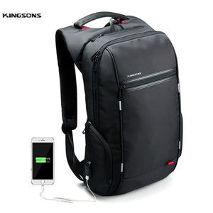 Kingsons Brand 15.6'' Men Laptop Backpack External USB Charge