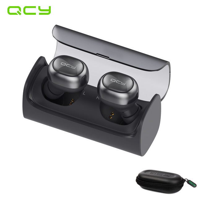 QCY  bluetooth V4.1 earbuds stereo headset wireless in-ear earphone gamer with mic handsfree and QCY storage box