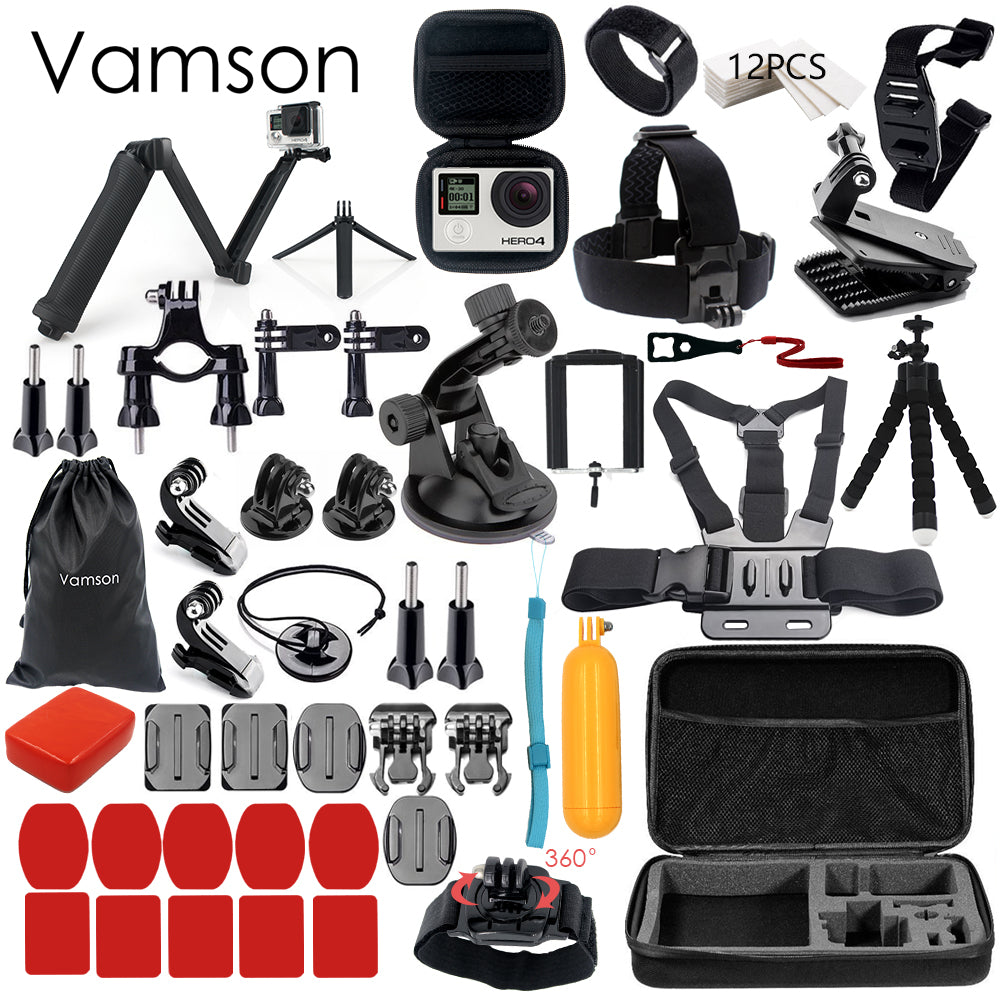Vamson for Gopro Accessories Set for go pro hero 6 5 4 3 kit 3 way selfie stick for Eken h8r / for xiaomi for yi EVA case VS77