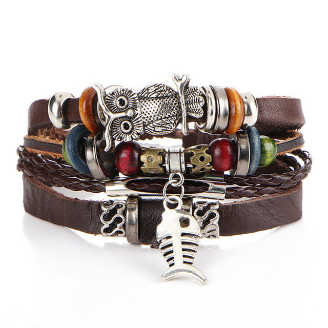 Multiple Layer Leather Charms Bracelets