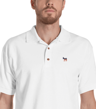 Democratic Donkey White Embroidered Polo Shirt