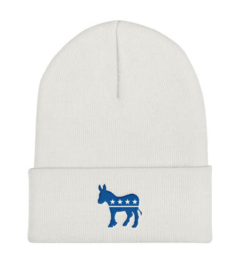 Blue Democratic Donkey Cuffed Beanie