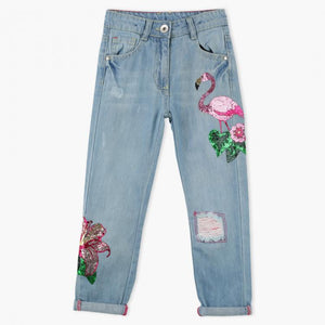 Juniors Full Length Sequin Detail Jeans