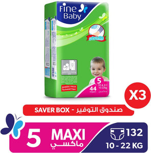 Fine Baby Super Dry - Smart Lock, Maxi 10-22 Kgs, Jumpo Pack, 132 Pieces