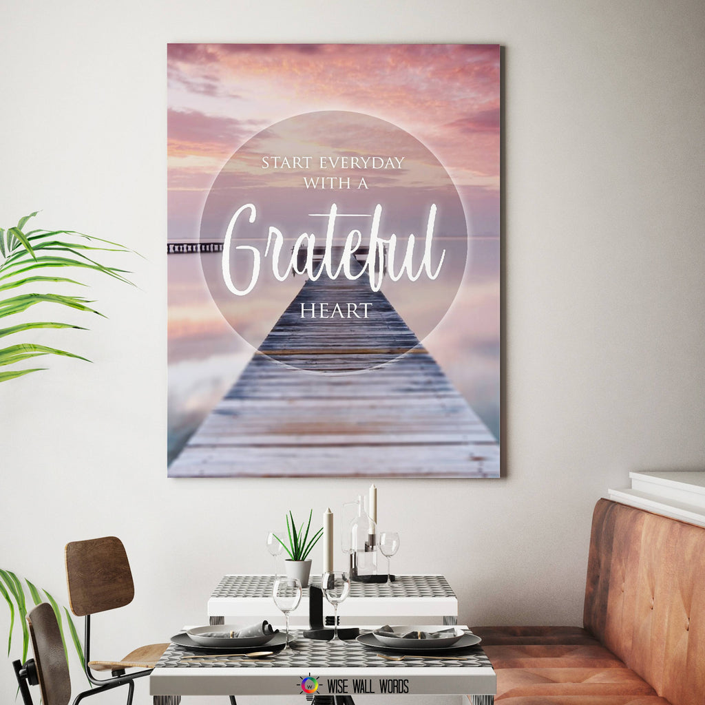 Home Decor Wall Art: Start Every Day With A Grateful Heart ...