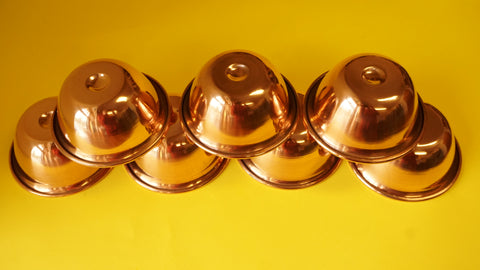 7Pcs of Tibetan Buddhist Offering Water Bowl Divine Copper Ritual Container Bowls.