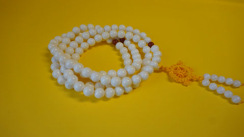 Cream Color Glass Mala Bead