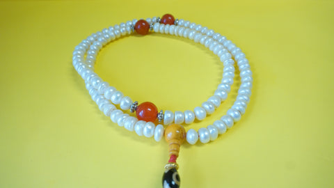 Large White Coral Mala Bead.